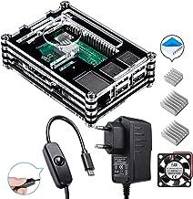 para Raspberry Pi 3 b+ Caja con Cargador de 5V / 2.5A con Conector ON/Off + 3X Disipador + Ventilador Compatible con Case Raspberry Pi 3 2 Modelo b+ b (No Incluye la Placa Raspberry Pi)