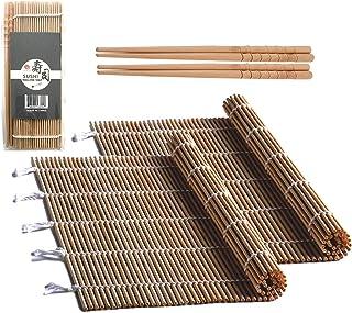 Bambus-Sushi-Rollmatte mit 2 Paar Essstäbchen, natürliches