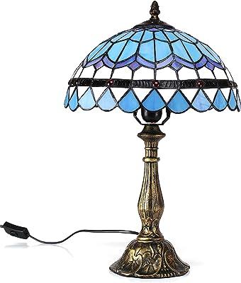 12 Pouces Vintage Pastoral Méditerranée Bleu Plume Style Vitrail Tiffany Style Lampe de Table Lampe de chambre Lampe de chevet