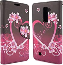 LG K10 Wallet Case, LG Premier Case, CoverON [CarryAll Series] Credit Card Folio with Strap Pouch Cover for LG K10 - Purple Love Flower