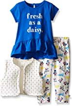 Rosie Pope Baby Girls' 3 Piece Navy Jersey Top, Quilted Jersey Vest and Printed Legging