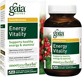 Gaia Herbs Energy Vitality, Vegan Liquid Capsules, 60 Count - Energy and Stamina, Healthy Stress Response, Green Tea Extract, Ginkgo Biloba, Panax Ginseng, Schisandra Berry