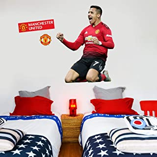 Beautiful Game Ltd Manchester United Football Club Official Alexis Sanchez Celebration Player Wall Sticker + Man Utd Logo Decals Vinyl Poster Print Mural Art (Life Size)