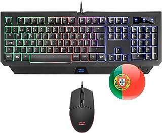 Mars Gaming MCP100, Set Tastiera H-Mech e Mouse 3200 DPI, illuminazione RGB, layout portoghese