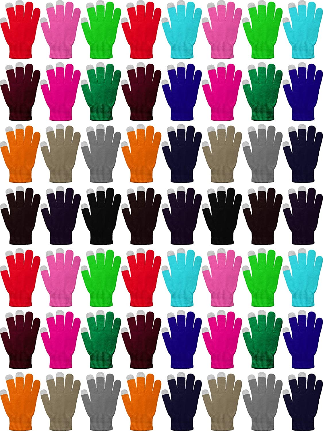 60 Pairs Touchscreen Gloves Winter Stretch Knitted Texting Gloves for Men Women (Multi-colors)