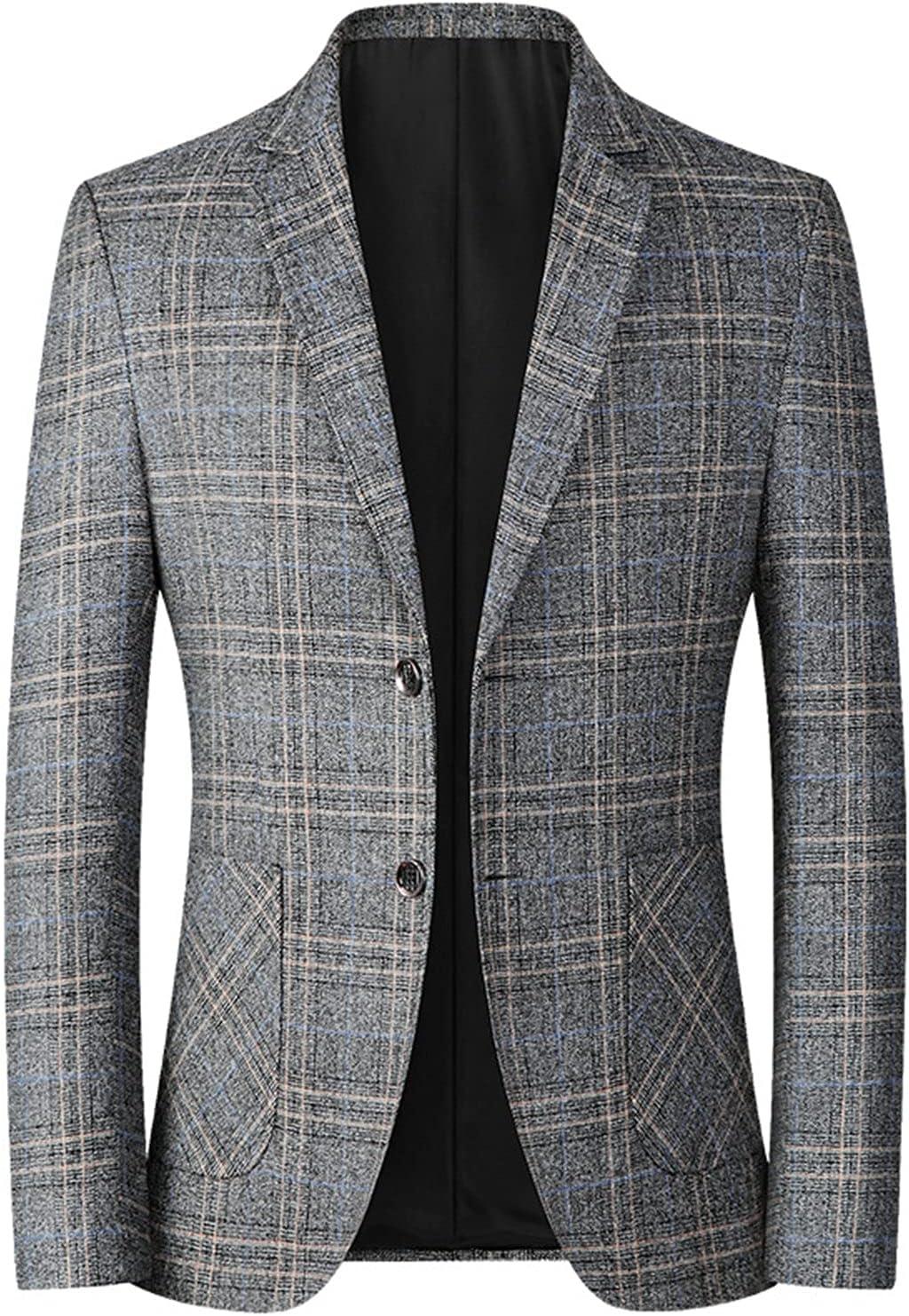 Men's Plaids Stylish Casual Blazer Jacket Cotton Notched Lapel Two Button Suits Coats Striped Business Blazers Coat (Gray,Medium)