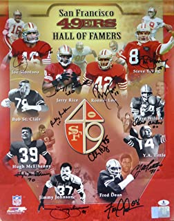 SAN FRANCISCO 49ERS HALL OF FAMERS AUTOGRAPHED 16X20 PHOTO WITH 11 SIGNATURES INCLUDING JOE MONTANA, JERRY RICE & STEVE YOUNG BECKETT BAS STOCK #118698
