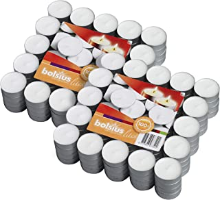 BOLSIUS Tea Lights Candles - Pack of 200 White Unscented Candle Lights with 3.5 Hour Burning Time - Tea Candles for Weddin...