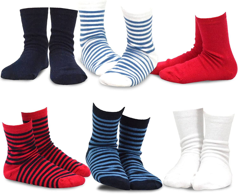 TeeHee Little Boys Basic Cotton Crew Socks 6 Pair Pack (18-24 Months, Bright Stripe)