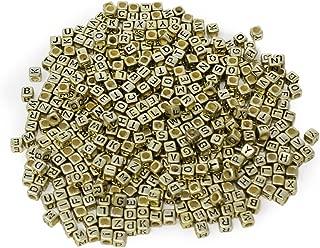 ESUMIC Mixed 500PCS Acrylic Plastic Letter Beads Spacer Cube Alphabet Beads for DIY Bracelets Necklaces (Gold black)