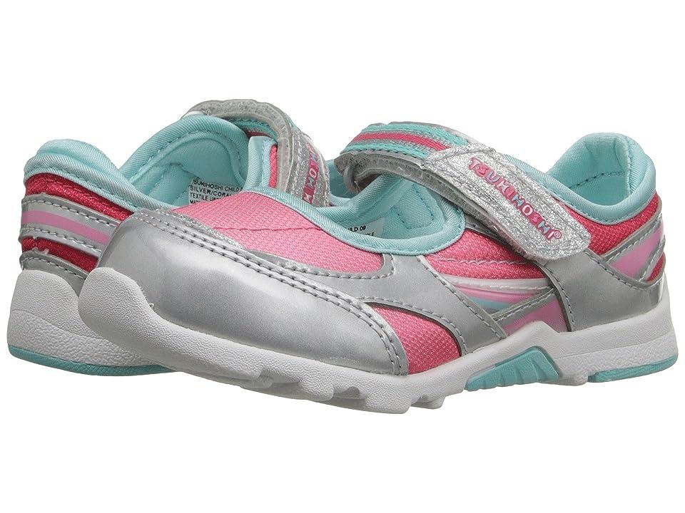 Tsukihoshi Kids Glamour (Toddler/Little Kid) (Silver/Coral) Girls Shoes
