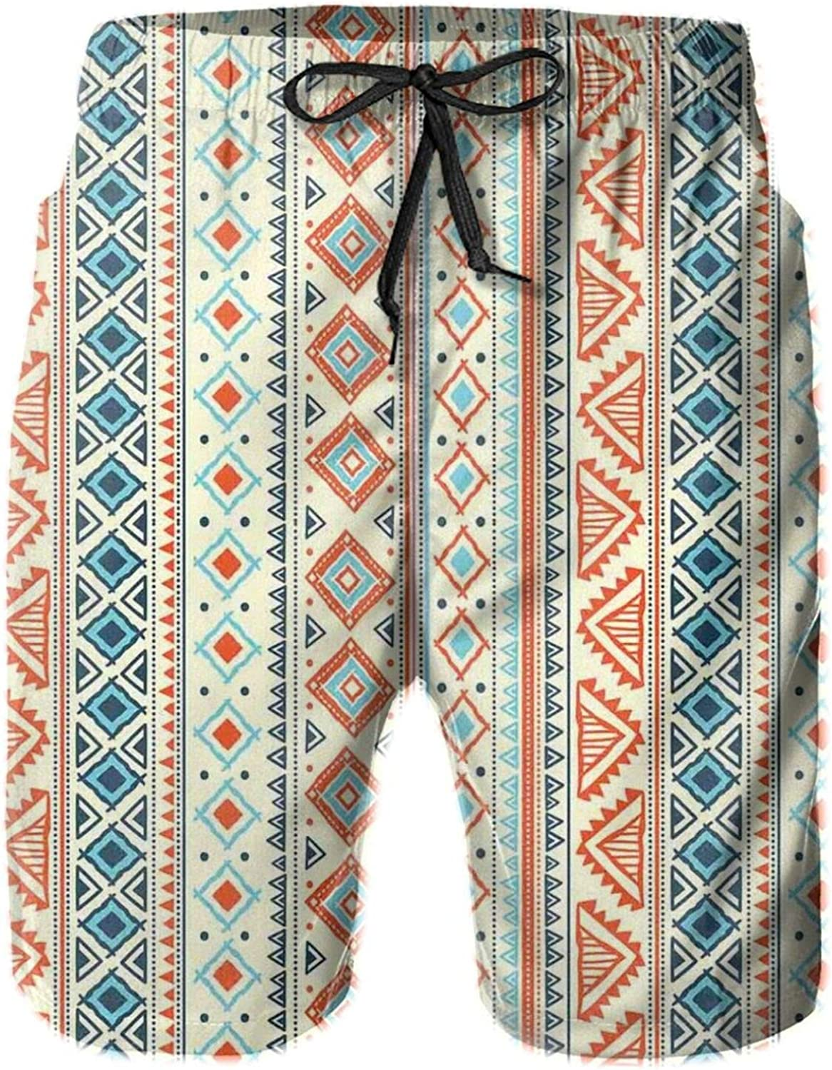Mexican Style Aztec Patterned Retro Hand Drawn Design Abstract Mens Swim Shorts Casual Workout Short Pants Drawstring Beach Shorts,XXL