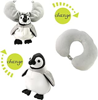 Houwsbaby Airplane Neck Pillow Convertible Animal Pillow Covers Plush Toy Gift for Kids, 12 inch (Penguin)