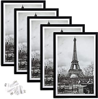 upsimples 12x18 Picture Frame Set of 5,Display Pictures 11x17 with Mat or 12x18 Without Mat,Wall Gallery Photo Frames,Black