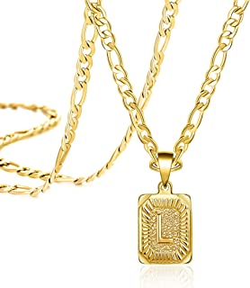 Joycuff 18K Gold Initial Necklaces for Women Men Teen Girls Best Friend Fashion Trendy Figaro Chain Square Letters Stainle...