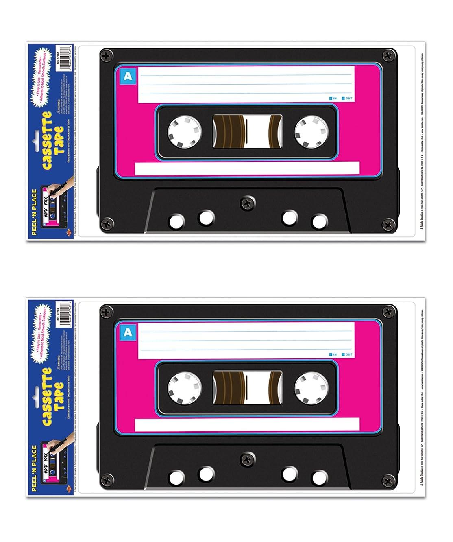 Beistle S57763AZ2, 2 Sheets Cassette Tape Peel 'N Places, 12'' x 24'' Sheet