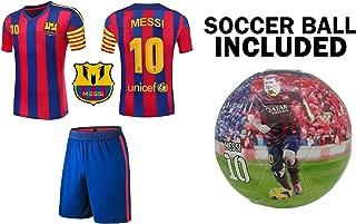 Lionel Messi Barcelona #10 Youth Soccer Jersey Away Short//Long Sleeve Kit Shorts Kids Gift Set