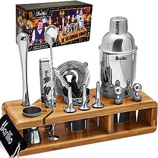 Elite 23-Piece Bartender Kit Cocktail Shaker Set by BARILLIO: Stainless Steel Bar Tools With Sleek Bamboo Stand, Velvet Ca...
