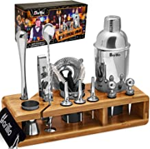 Elite 23-Piece Bartender Kit Cocktail Shaker Set by BARILLIO: Stainless Steel Bar Tools With Sleek Bamboo Stand, Velvet Ca...