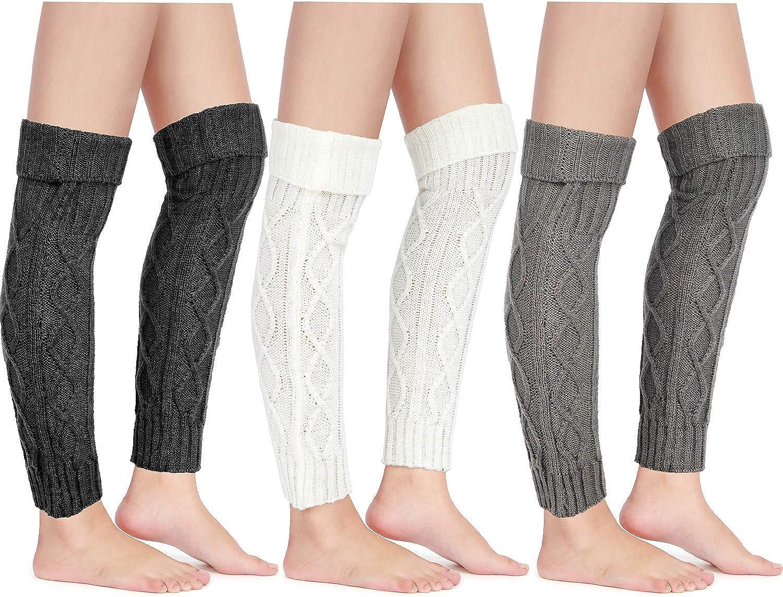 3 Pairs Knit Leg Warmer Cable Footless Sock Winter High Leg Warmer for Women Girls