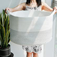 HiChen Large Woven Laundry Basket - Floor Cotton Rope Storage Bin - Modern Collapsible Basket for Dirty Clothes - Simple W...