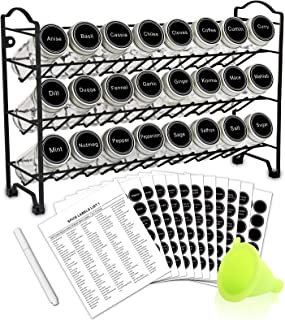 SWOMMOLY Spice Rack with 24 Empty Round Spice Jars, 396 Spice Labels with Chalk Marker and Funnel Complete Set, for Counte...