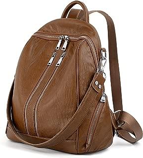 UTO Women Backpack Purse PU Washed Leather Convertible Ladies Rucksack Zipper Pockets Crossbody Shoulder Bag