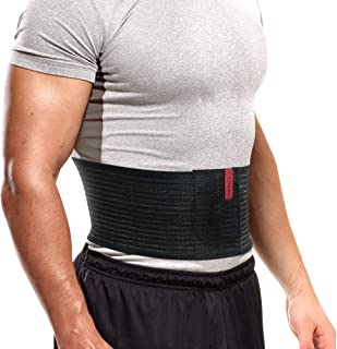 Umbilical Hernia Belt for Men and Women Abdominal Binder Hernia Support with Silicone Compression Pad Navel Ventral Epigastric Incisional and Belly Button Hernias Surgery Prevention Black OX5241-L-XXL