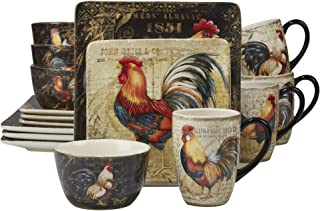Certified International 89014 Gilded Rooster Dinnerware.Tabletop, One Size, Multicolor