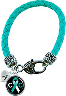 Custom Cervical Cancer Awareness Teal Leather Bracelet Jewelry Choose Initial