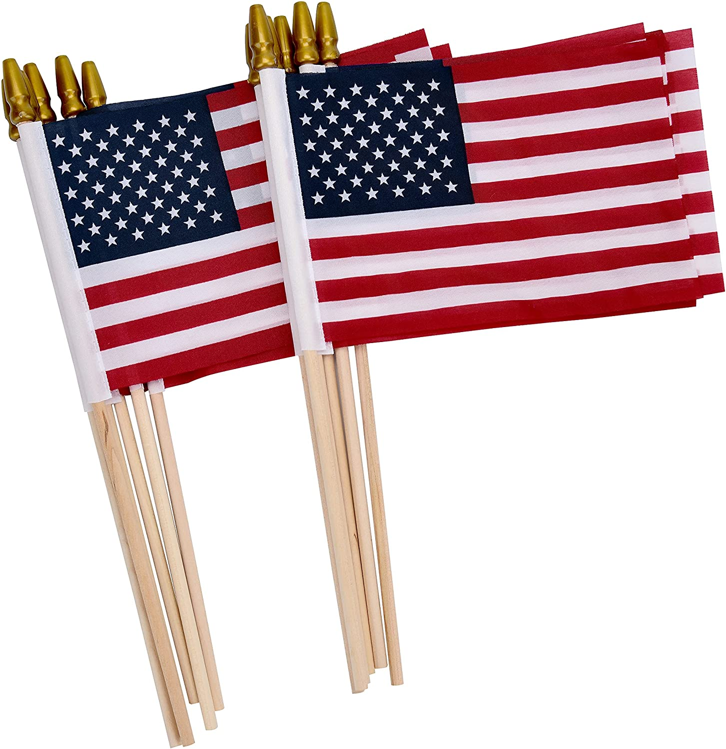 Uelfbaby 12 Pack Small American Flags on Stick, Small US Flags/Mini American Flag on Stick 4x6 Inch US American Hand Held Stick Flags with Kid-Safe Spear Top, Polyester Full Color Tear-Resistant Flag