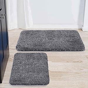 "Buganda Microfiber Bathroom Rugs Set 2 Pieces - Shaggy Soft Thick Bath Mat, Non-Slip Machine Wash/Dry Absorbent Shower Bathroom Rugs and Mats Sets for Bathroom(17""x24""+20""x32"", Grey)"