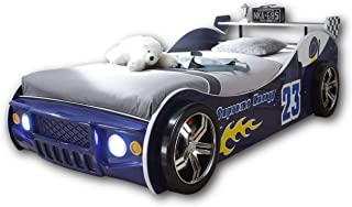 Stella Trading ENERGY Autobett mit LED-Beleuchtung 90 x 200 cm - Aufregendes Auto Kinderbett für kleine Rennfahrer in Rot, Blau oder Schwarz - 105 x 60 x 225 cm B/H/T