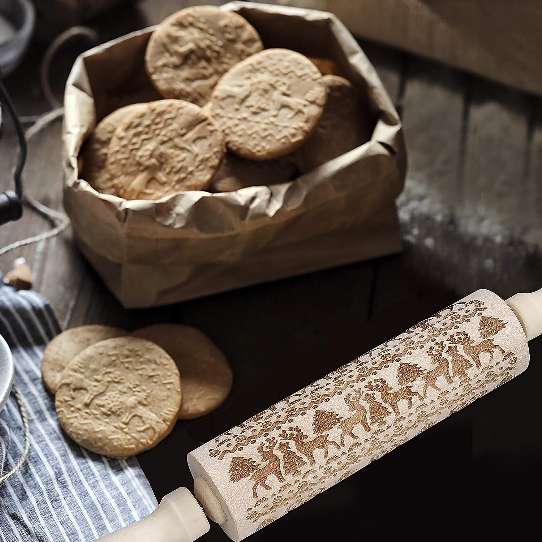 Rouleau /à p/âtisserie en Bois /Écologique Motif de Cerfs de No/ël Gaufrage Grav/é B/âtonnets de Bois pour DIY Fondant G/âteau P/âte /à Biscuits Cookies 35cm