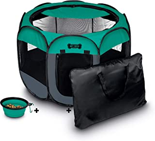 """Ruff 'n Ruffus Portable Foldable Pet Playpen + Carrying Case & Collapsible Travel Bowl (Extra Large (48"""" x 48"""" x 23.5"""")) (..."""