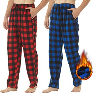 YUSHOW 2 Pack Mens Fleece Pyjama Bottoms Ultra Soft Checked Lounge Pants with Pockets PJs Loungewear Pjs Trousers