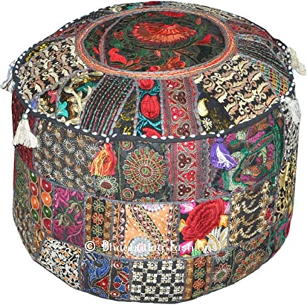 Traditional India Indian Patchwork Pouf Cover Indian Living Room Pouf,  Decorative Ottoman, Embroidered Designer Ottoman,  Home Living Footstool Chair Cover,  Bohemian Ottoman Pouf Decor 14x22 Inch.