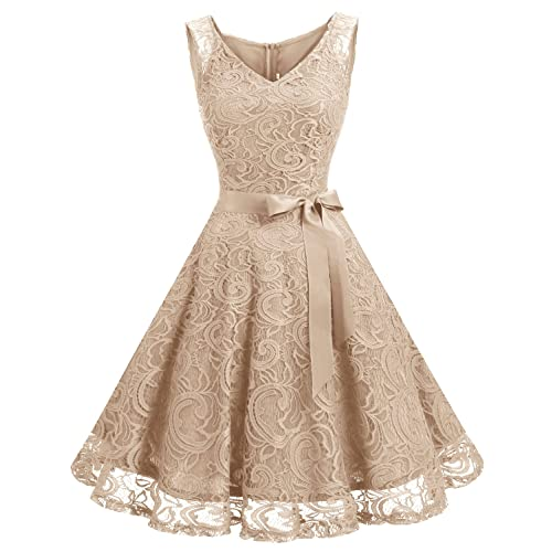 7609b473f88e Dressystar Women Floral Lace Bridesmaid Party Dress Short Prom Dress V Neck