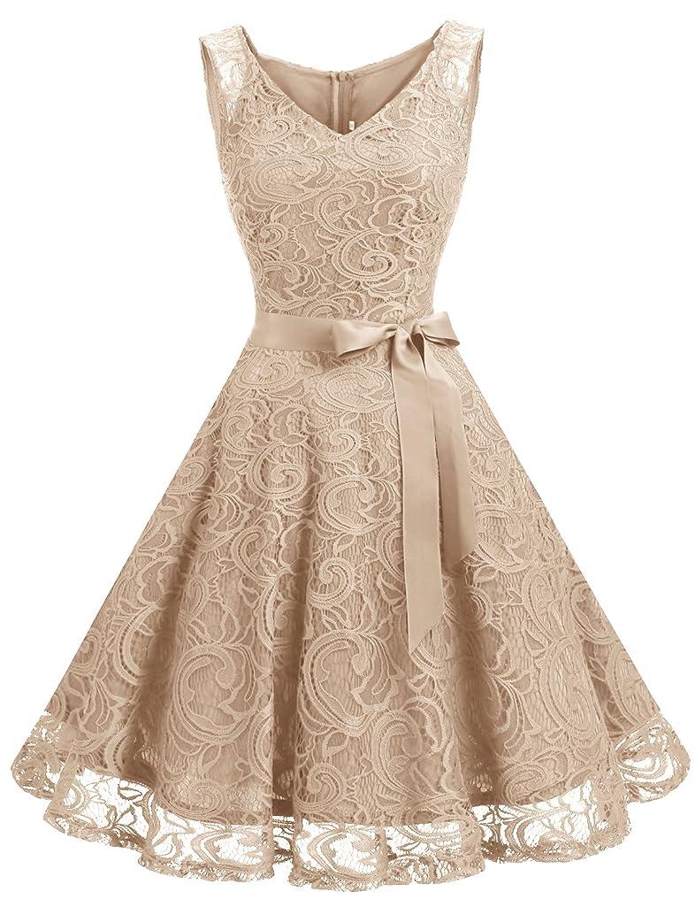 Dressystar Women Floral Lace Bridesmaid Party Dress Short Prom Dress V Neck