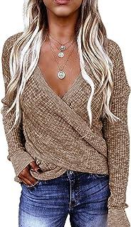Damen Pullover Top Langarm Bluse Schulterfrei Sweatshirt Top Oberteil L16306.21