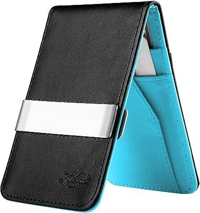 Zodaca Horizontal Genuine Leather Money Clip Wallet, Black/Blue