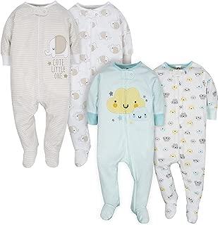 Gerber Unisex-Baby 4-Pack Sleep N' Play Long Sleeve Infant-and-Toddler-Bodysuit-Footies