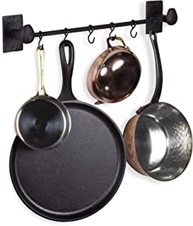 Rustic State Wall Mount Motris Cast Iron Pot Rack Kitchen Rail with 6 Hooks 17.25 Inch Black