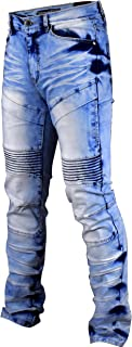 HENGAO Mens Destroyed Ripped Straight Skinny Fit Biker Jeans with Zipper Deco