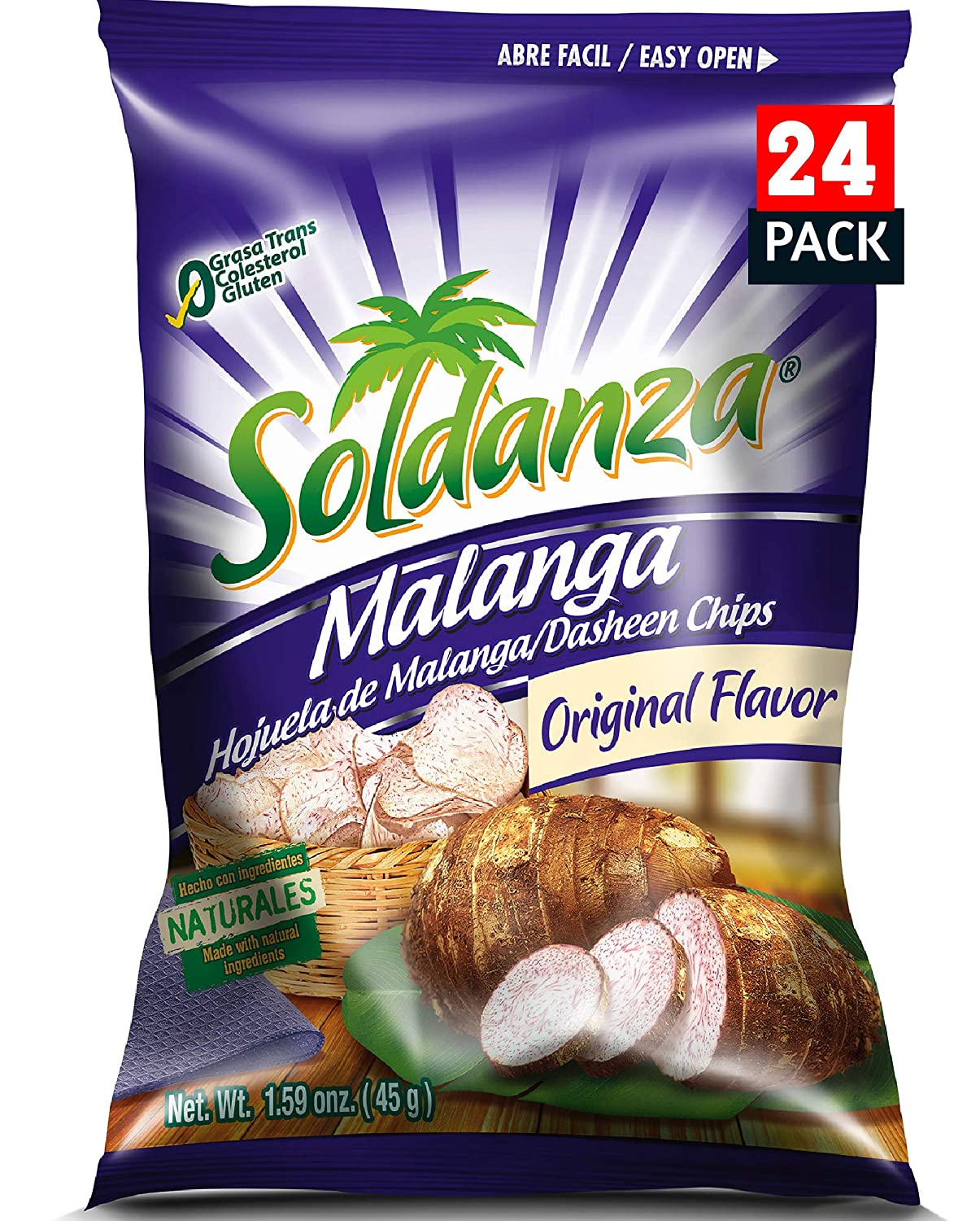 Soldanza Dasheen Chips 1.6 Ounce Pack Mala New Orleans Mall Price reduction All 24 Natural of