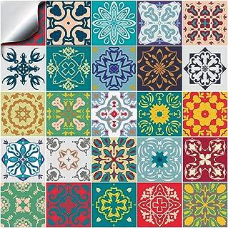 comprar comparacion 24x Color de la mezcla Lámina impresa 2d PEGATINAS lisas para pegar sobre azulejos cuadrados de 15cm en cocina, baños – re...