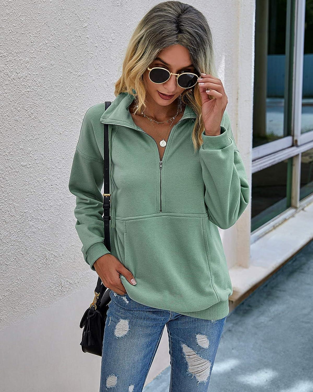 PRETTYGARDEN Women's Casual Long Sleeve Lapel Zipper Sweatshirt Drawstring Loose Pullover Tops