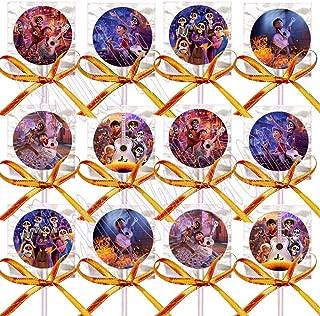 Coco Lollipops Movie, Miguel, Hector Party Favors Supplies Decorations Lollipops with Orange Ribbon Bows Party Favors -12 pcs Dia de Los Muertos Day of The Dead