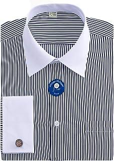 J.VER Men's French Cuff Dress Shirts Regular Fit Long Sleeve Spead Collar Metal Cufflink