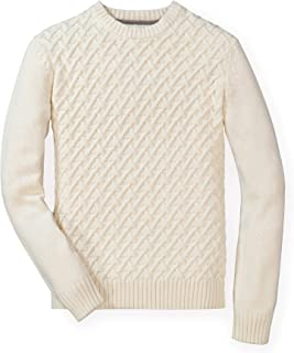 Hope & Henry Men's Long Sleeve Herringbone Cable Pullover Sweater